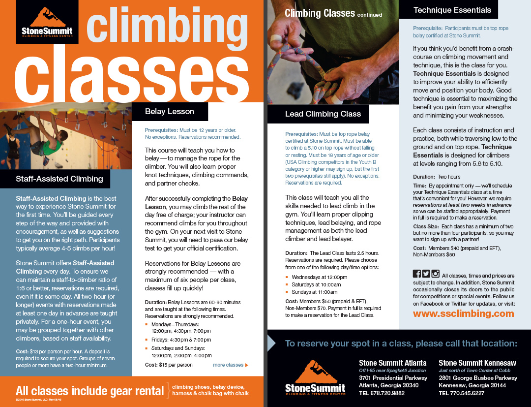 Climbing Classes Brochure