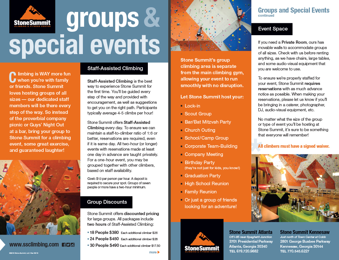 Groups & Special Events Brochure