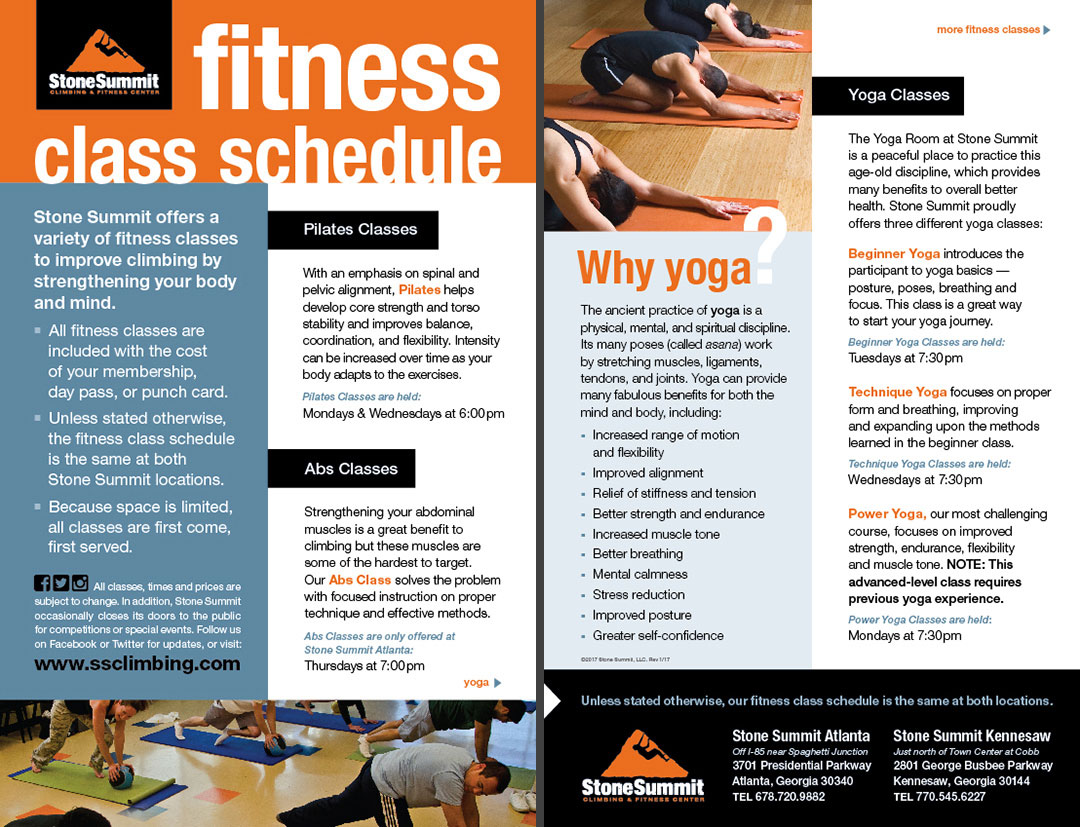 Fitness Classes Brochure